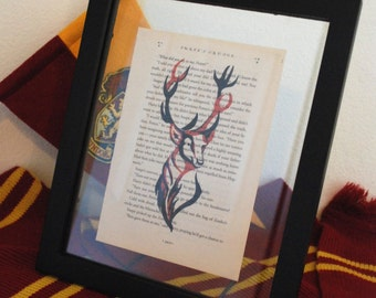 Harry Potter Marauders Print on book paper Prongs, James Potter the Stag anamagus