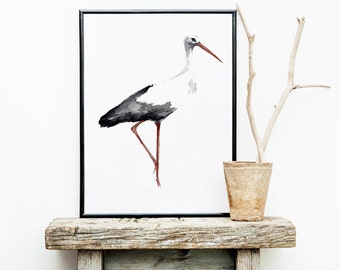 Stork Art Print, Watercolor Poster, Bird Painting, Kids Room Decor, Animal Drawing