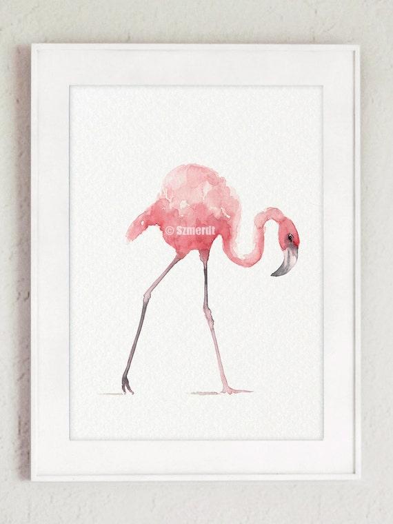 Flamingo Art Print Pink Home Decor Tropical Wall Art
