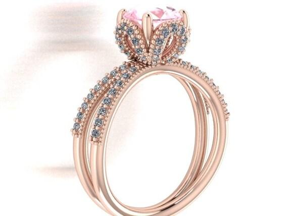 diamond wedding ring disney princess cinderella inspired rose gold ring natural round morganite surrounded - Cinderella Wedding Ring