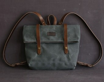 Waxed canvas backpack JUDITH grey