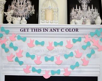 Tutus or Ties boy or girl we love you, baby shower decorations, Tutu garland, bowtie garland, pink or blue welcome baby sprinkle decor
