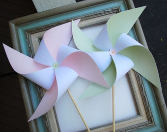 Extra Large Wedding Birthday Paper Pinwheel Centerpiece Decor for Table Lawn Windmill Vintage Bridal Baby Shower Pink & Mint or Coral XL S2