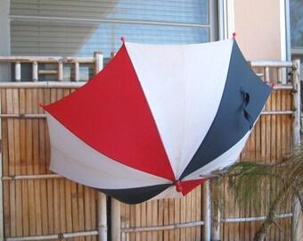 Red-White-Blue Stripe Umbrella - Patriotic Vintage Rain Umbrella - American Flag Accessory - Mod Colorblock Umbrella