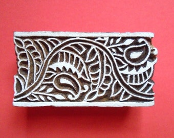 ON SALE Paisley Border Wood Stamp Hand Carved Indian Print Block