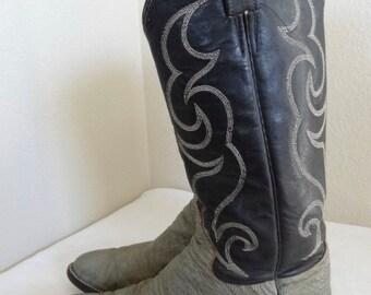 Vintage 'Tony Lama' Leather & Sharkskin Cowboy Boots Made In USA - UK Size 8.5