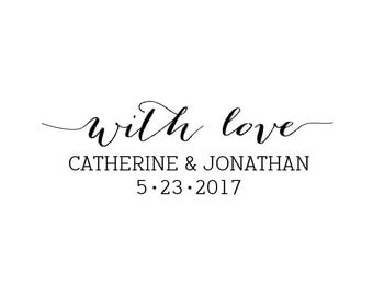 """Custom With Love Text Stamp, personalised names and date, wedding stationery stamp, wedding favours stamp, thank you stamp, 2""""x0.7"""" (cts95)"""