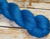 Lux Hand Dyed Filolious Fingering Sock Yarn Alpaca/Silk/Cashmere in Blue Fire