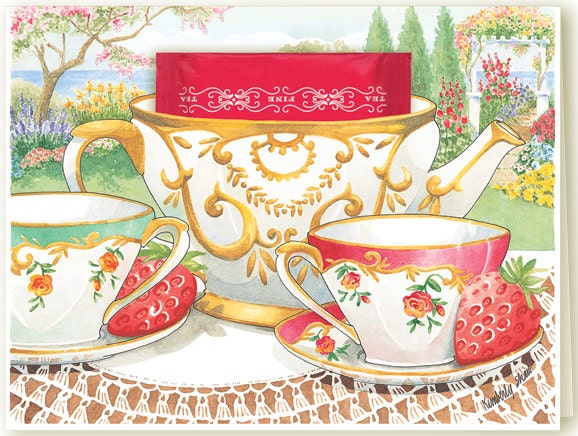 Garden Tea Teacup Greeting Card with English Breakfast Tea