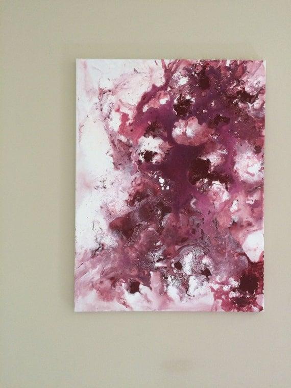 Abstract Acrylic Large Canvas Art Burgundy White Modern Wall Art