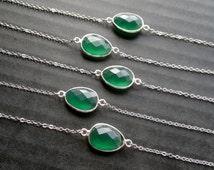 Green Onyx Bracelet Silver Green Bracelet Stone Bezel Bracelet Green Stone Bracelet Mineral Bracelet Chain and Stone Boho Jewelry Layering