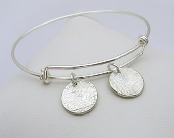 Fingerprint Bracelet, Fingerprint Bangle, Fingerprint Jewelry,  Fingerprint Charm, Bangle Bracelet, Adjustable Bangle, Wire Bangle, Silver
