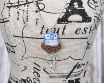 Acorn Jewelry - Silver Necklace - Blue - Owl