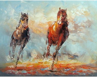 Running Horses - Hand Painted Modern Impressionist Horse Painting On Canvas CERTIFICATE INCLUDED