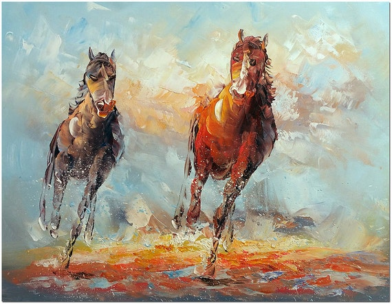 Running Horses Hand Painted Modern Impressionist Horse