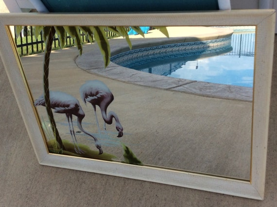 Vintage Turner Flamingo Amp Palm Tree Framed Mirror 1950s