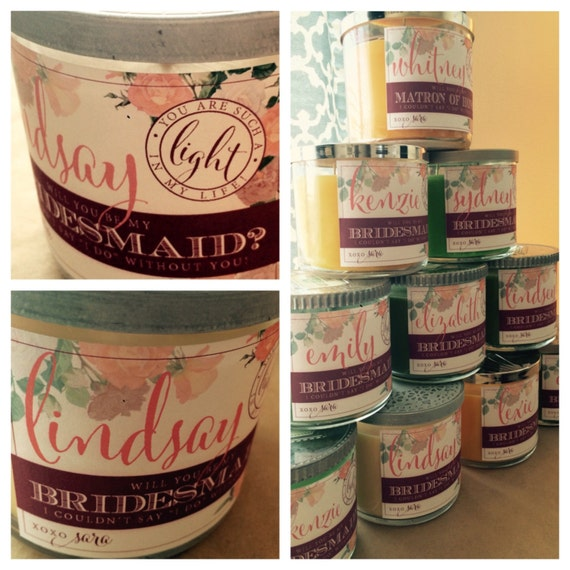 Will you be my bridesmaid custom candle label pinks for Create your own candle labels