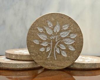 Tree of life symbols Natural stone hand carved Travertine round shape coaster set