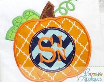 Pumpkin Monogram Applique Digital Machine Embroidery Design 4 Sizes, pumpkin applique, monogram applique, pumpkin embroidery, autumn
