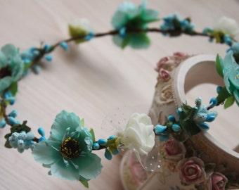 Teal Flower Crown, Bun Crown, Turquoise Flower Headband - ballerina headband-Festival Flower Crown-Beach Flower Crown
