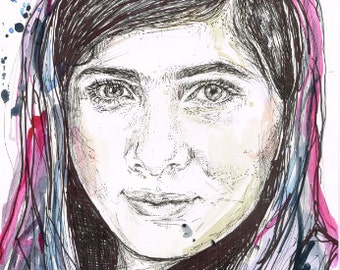 High Quality Print - MALALA YOUSAFZAI Watercolour ink and pen drawing Nobel Peace Prize Poster Education Activist Feminist Feminism Portrait