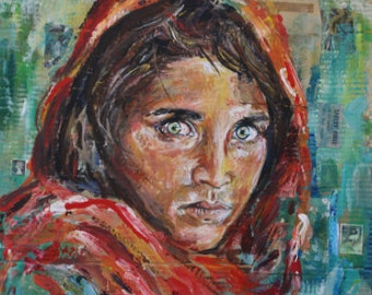 National Geographic 1984 Afghan Girl Steve Mcurry Inspired Painting Art Print Poster Colourful Wall Decor Gift A4 A3 A2