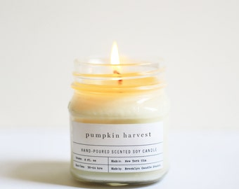 Pumpkin Harvest Mason Jar Soy Candle - Vintage Style Apothecary Label – Hand poured Handmade in Brooklyn Fall Candle Pumpkin Candle