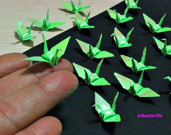"""100pcs Green Color 1.5"""" Origami Cranes Hand-folded From 1.5""""x1.5"""" Square Paper. (AV paper series). #FC15-31."""