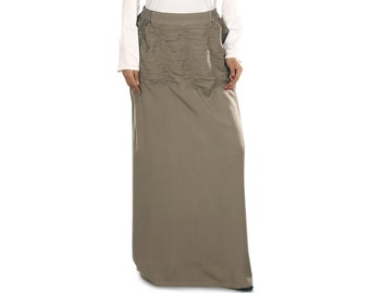 Nazmin Khaki Long Skirt AS016 Islamic Formal, Daily, Casual & Party Wear Made In Rayon Fabric, Muslim Women Skirt