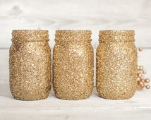 Pick your colors Glitter Mason Jar   Pint, Quart, Half Gallon Dinner party decorations, flower vases, Halloween, Thanksgiving, Holidays