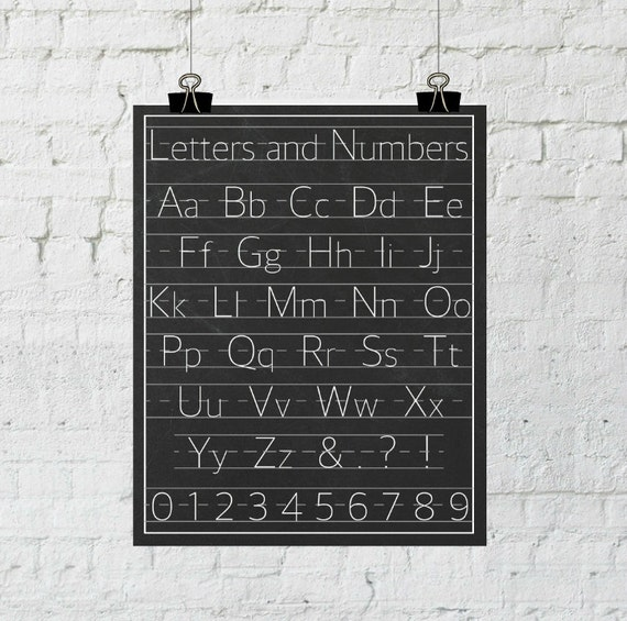 Letters and Numbers Poster Classroom Decor, Alphabet Print Wall Art, Nursery Decor, Instant Download, The Copper Anchor- ADOPTION FUNDRAISER