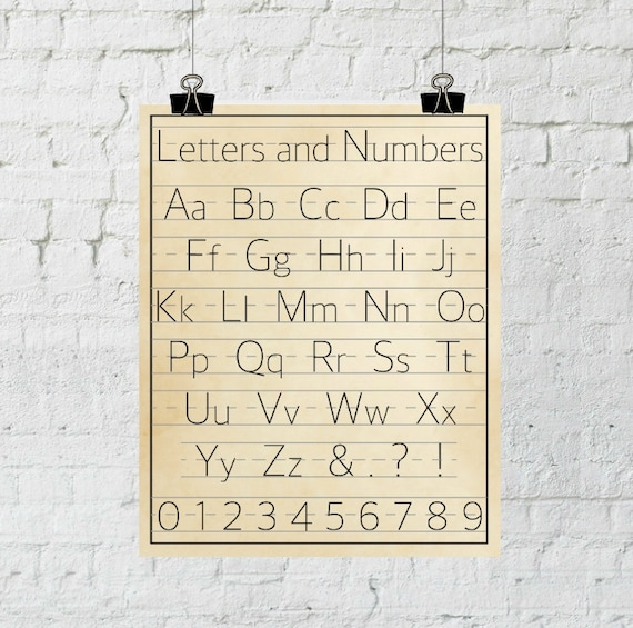 Letters and Numbers, Classroom Decor, Vintage Alphabet Wall Art, Nursery Decor, Instant Download, The Copper Anchor- ADOPTION FUNDRAISER