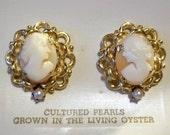 Carnelian Shell Cameo Earrings With Genuine Akoya Pearls