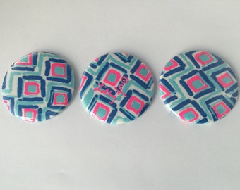 "Lilly Pulitzer ""My Fans""  Fabric Pocket Mirrors"