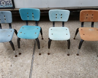 4 vintage child's chairs