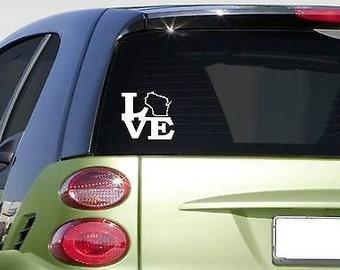 Love Wisconsin State *F316* Sticker Decal Window Football Basketball