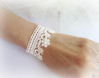 Lace bracelet embroidered flower lace bracelet ivory or white lace bracelet bridesmaid bracelet wedding jewelry