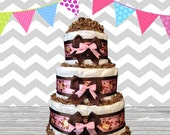 3 Tier Diaper Cake - Baby Shower Gift - Baby Shower Centerpiece - Monkey Pink and Brown Theme
