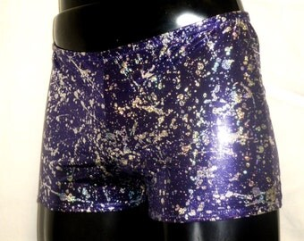 Mens Spandex Shorts Metallic Purple Silver Splodge Lycra Booty Pants Hotpants Hot Yoga Bikram Burning Man Festival Beach Stretch Mooners UK
