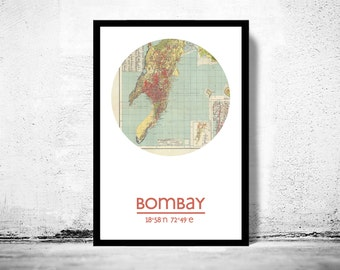 BOMBAY (2) - city poster - city map poster print