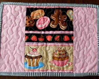 Patchwork quilted mugrug, placemat, snack mat, cupcakes and gingerbread, pink mug rug