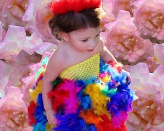 Lighted Rainbow Feather Tutu Dress