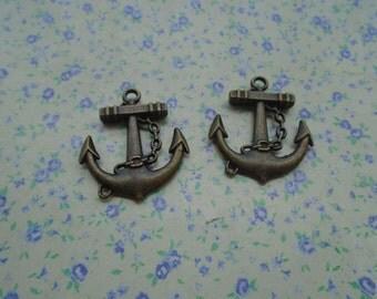 10 pcs of antique bronze color metal anchor pendant charm , 31*27mm , MP53