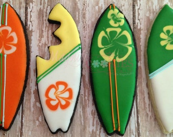 Surf board decorated cookies - customizable.