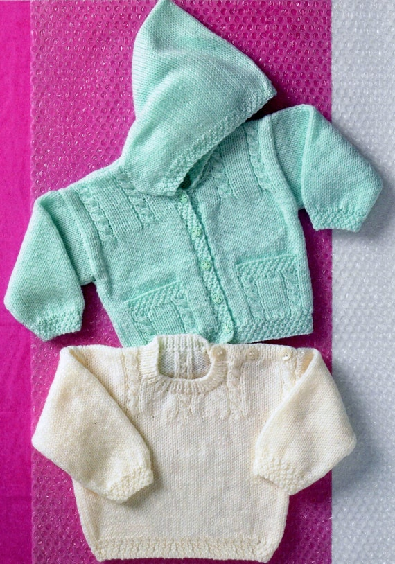 Baby / Toddler Hooded Cabled Jacket and Sweater in DK 8