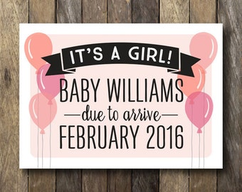 it 39 s a girl announcement printable gender reveal sign. Black Bedroom Furniture Sets. Home Design Ideas