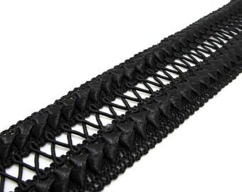 2 Yards 1 7/8 Inches Black Gimp Braided Trim|French Gimp Braided|Scroll Braid Trim|Decorative Embellishment Trim|Doll Trim|Home Decor