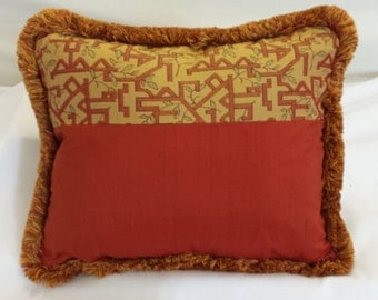 14 x 18  Rust Red and Yellow Geometric Pattern Kidney Pillow Cover with Fringe all around