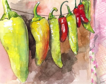 "Pepper Painting - Print from Original Watercolor Painting, ""Pepper String"", Red Peppers, Hot Peppers, Kitchen Decor"