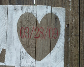 Love Valentine's Day, Anniversary Gift With Wedding Date, Rustic Personalized Barn Wood Signage, White Wash, Customizable Vintage Valentine